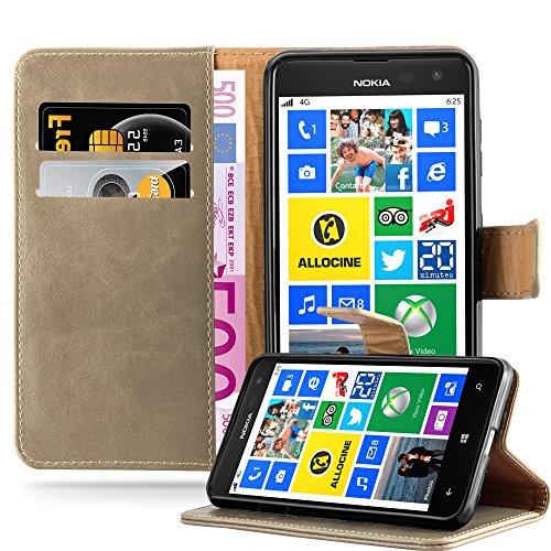 Cadorabo Hülle für Nokia Lumia 625 in Cappuccino BRAUN – Handyhülle mit Magnetverschluss, Standfunktion & Kartenfach – Hülle Cover Schutzhülle Etui Tasche Book Klapp Style