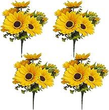 LSKY 4 Bunches Bouquet Artificial Sunflower Floral Arrangement,28 Flowers per Bunch,Faux Sunflower Bouquet for Home Decora...
