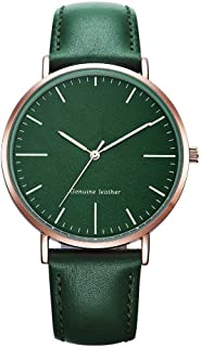 Wangyr Brown Green White Women's Girl Lady Simple Ultra-Thin 8mm Quartz Watch 40mm Leather Strap Fashion Waterproof Holiday Gift Unique Fashion Classic Casual Luxury Business Dress (Color : Green)