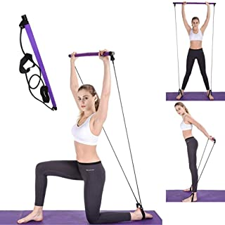 Portable Pilates Bar Kit with Exercise Resistance Band| Exercises, Home Gym,Body-Building,Yoga Pilates Stick with Foot Loo...