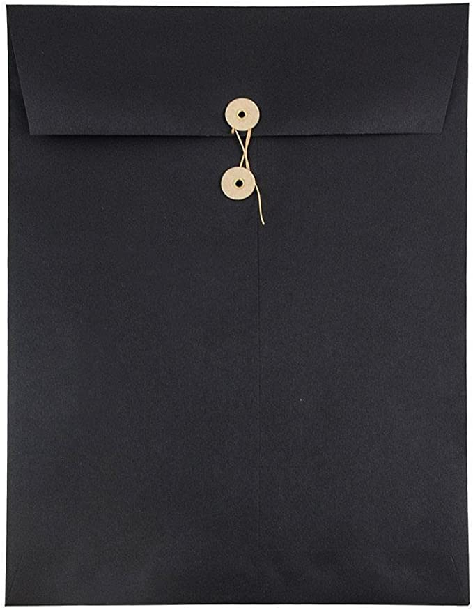 JAM PAPER 10 x 13 Open End Catalog Envelopes with Clasp Closure Smooth Black 25//Pack