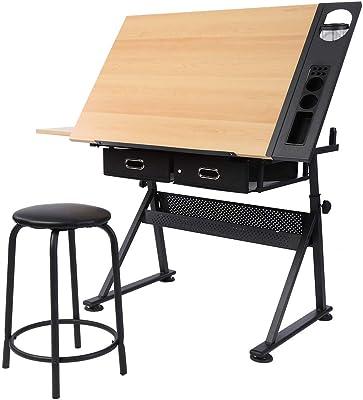 vidaXL Mesa con Tablero Inclinable y Taburete Mueble Oficina ...