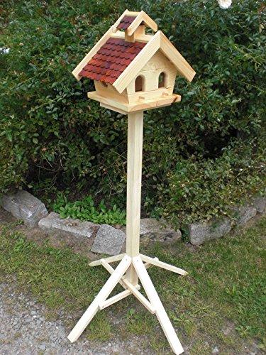 Vogelhaus mit Ständer-(V13+S1)XL Braun-Vogelhäuser Vogelfutterhaus Vogelhäuschen-aus Holz- Schreinerarbeit-