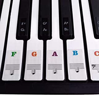 ZIIYAN Colorful Piano Keyboard Stickers for 37/49/54/61/88 F