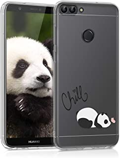 kwmobile TPU Silicone Case for Huawei Enjoy 7S / P Smart - Crystal Clear Smartphone Back Case Protective Cover - Chill Panda Black/White/Transparent