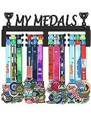 WEBIN My Medals medaille-ophanger houder display rack, zwart super hard staal metaal, wandmontage meer dan 50 medailles