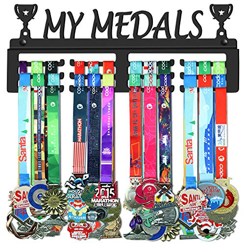 WEBIN My Medals Medaillen Aufhänger Halter Display Rack,Schwarz Super Hart Stahl Metall,Wandmontage Über 50 Medaillen