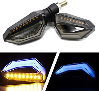 Usee LED Motorcycle Turn Signal Light Amber Daytime Running Light Indicators Blinkers Blue Universal DC 12V 2Pcs