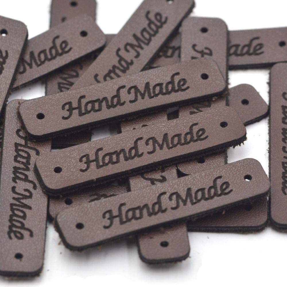 200pcs Handmade Labels Clothes Garment Made Great interest Leather Hand Las Vegas Mall