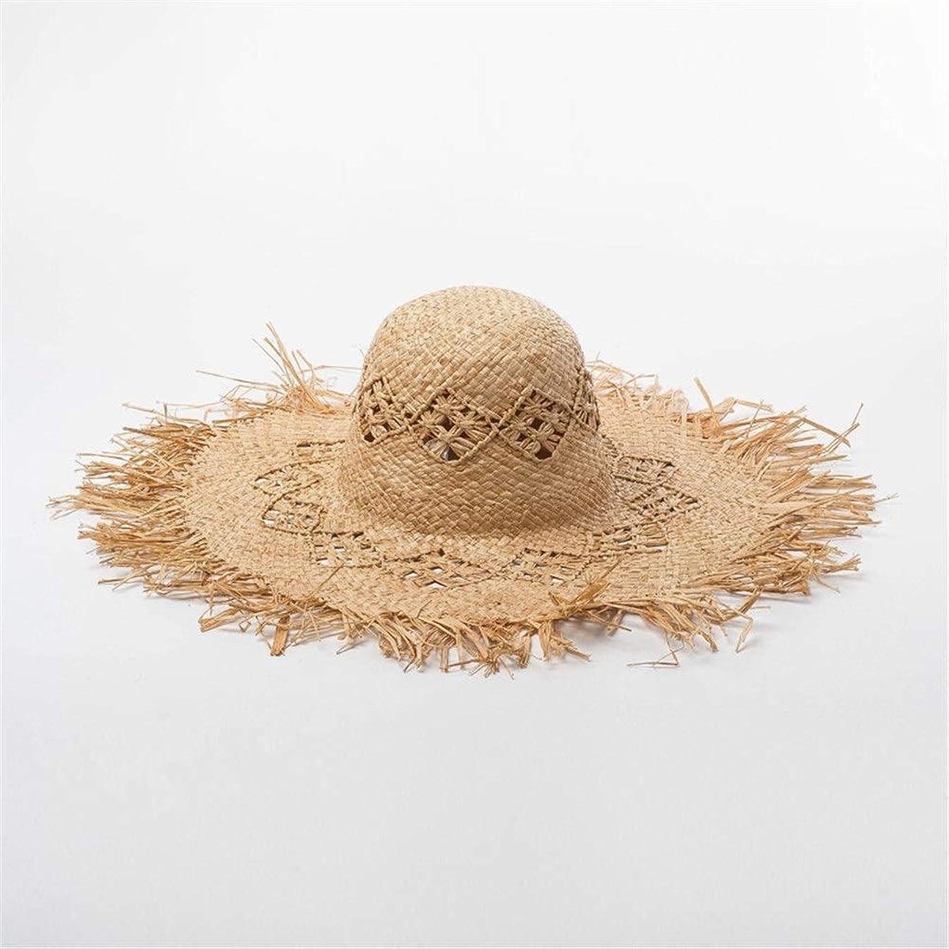 ために劇作家気体の春と夏の手作り透かし彫り生エッジラフィア大きな帽子日焼け止めビーチラフィット麦わら帽子