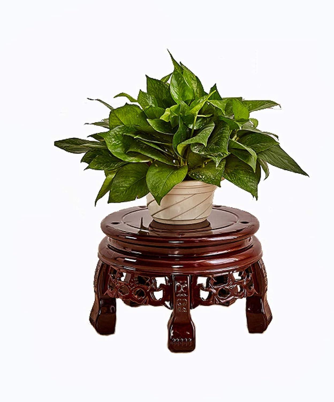 Living Room Solid Wood Flower Stand Living Room Corridor Indoor and Outdoor Flower Pot Rack Floor Plant Stand (Size   Red Brown H  20cm)