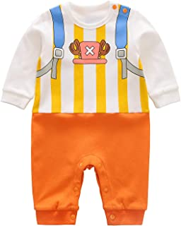 Baby Rompers Boys Girls Infants ONE Piece Cartoon Outfits Button Cotton Jumpsuit Long Sleeve White&Orange2 3-6 Months/66