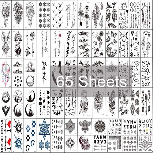 Fake Tattoos Temporary Tattoos 65 Sheets Mandala Bohemian Tattoo For Women Men Kids Temporary Tattoos For Adults tattoo paper (65 Sheet)