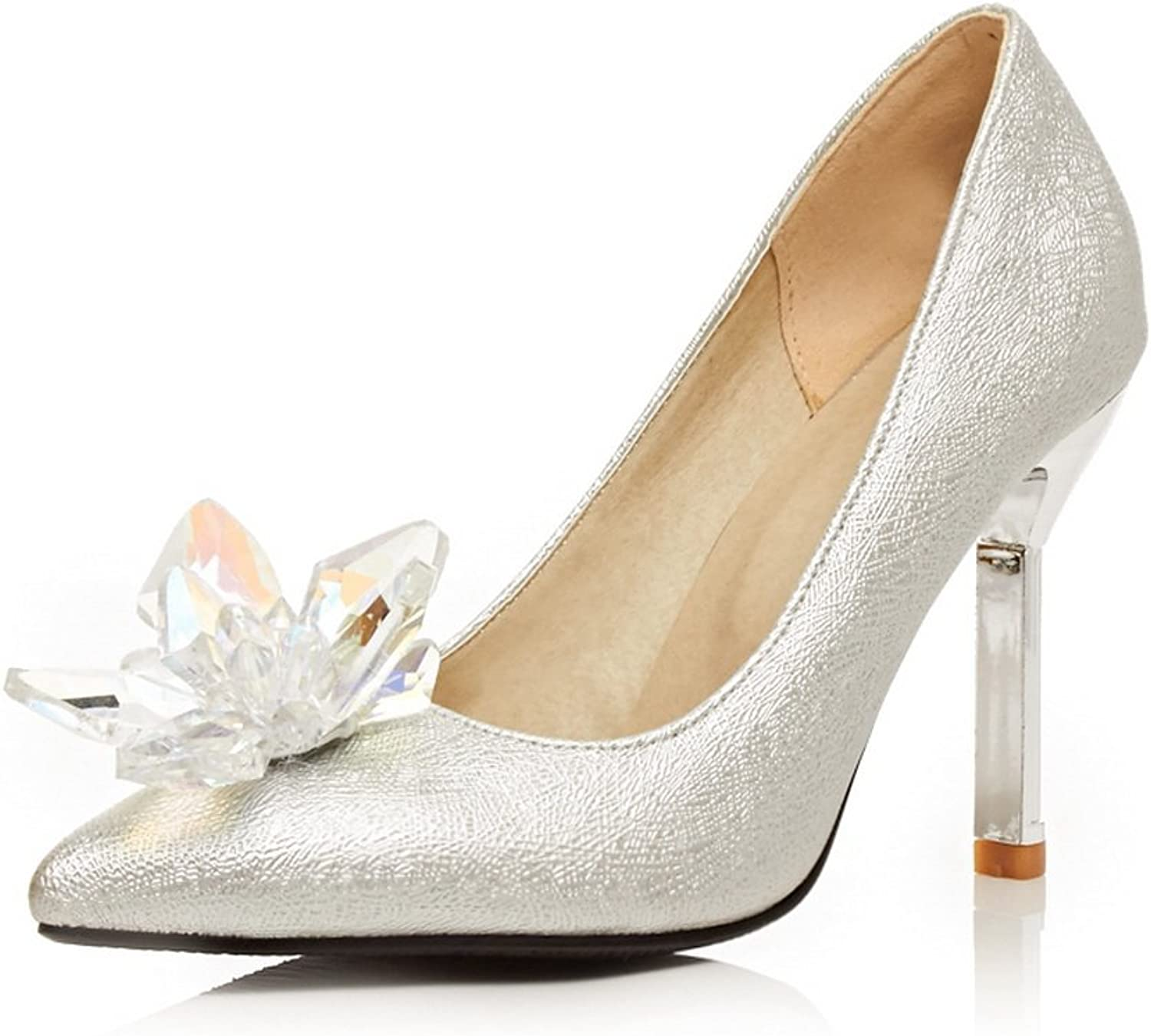 1TO9 Girls Sequins Glass Diamond Low-Cut Uppers Silver Rubber Pumps-shoes - 4.5 B(M) US