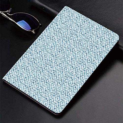 Case for iPad (9.7-Inch, 2018/2017 Model, 6th/5th Generation)Ultra Slim Lightweight Smart Cover,Greek Key,Tile Mosaic Pattern in Blue and White with Antique Meander and Ca,Smart Covers Auto Wake/Sleep