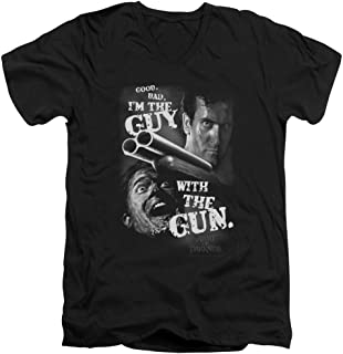 Army of Darkness Guy with The Gun Unisex Adult V-Neck T Shirt for Men and Women