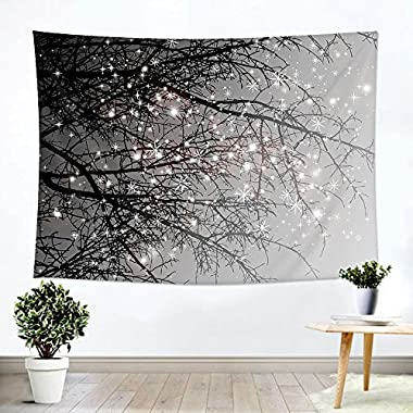 """iLeadon Tapestry Grey Tree Wall Hanging – Polyester Fabric Wall Decor for bedroom (60""""H x 80""""W, Grey Tree)"""