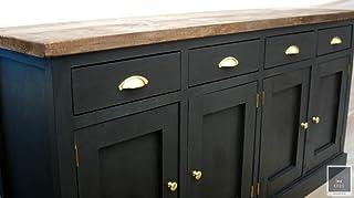 KRUD-40 - Cómoda (grafito muebles de campo asas de latón aparador de casa de campo muebles rústicos cajones)