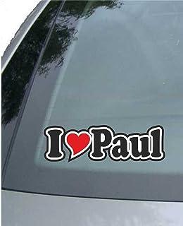 INDIGOS UG   Aufkleber/Autoaufkleber I Love Heart   Ich Liebe mit Herz 15 cm   I Love Paul   Auto LKW Truck   Sticker mit Namen vom Mann Frau Kind