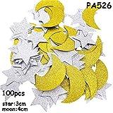 Congchuaty - 100 unidades de confeti con purpurina, diseño de estrellas y luna, Eid Mubarak 02.