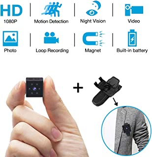 Spy Mini Camera HD 1080P Built in Rechargeable Battery Hidden Nanny Cam with Motion Detection, Night Vision and Arm Bandage for Indoor/Outdoor Magnetic& Wearable Hidde Cam for Car, Home and Sports