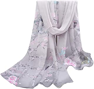 Ladies Womens Scarf Chiffon Flower Printed Soft Shawl Scarves Wrap