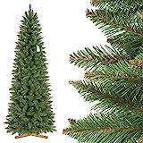 FairyTrees Pícea Natural Slim, Tronco Verde, Árbol de Navidad Artificial, PVC, Soporte de Madera, 220cm