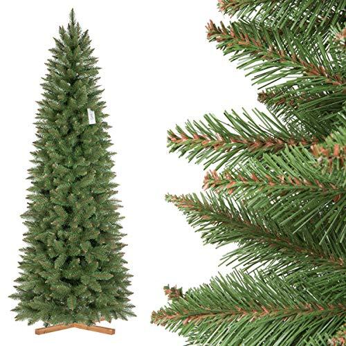 FairyTrees Abete Rosso/Peccio Naturale Slim, Tronco Verde, Albero di Natale Artificiale, PVC, Supporto in Legno, 220cm