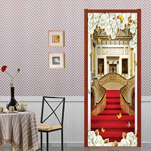Deurfolie 3D Deurfolie Rode Loper Trap 3D Deur Stickers Muurschildering Behang Slaapkamer Woonkamer Deur Waterdichte Muurschildering Home Decor-As_Shown_77Cm_X_200Cm