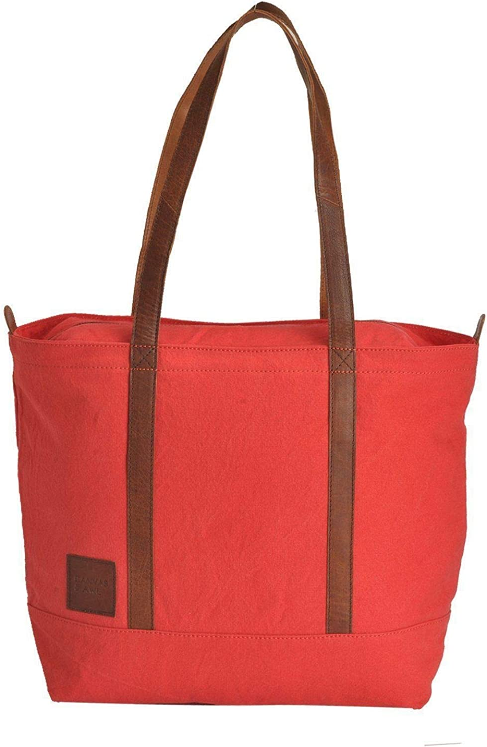 Canvas & Awl Red 12oz Canvas With Genuine Buff Leather Trim Ladies Tote Bag