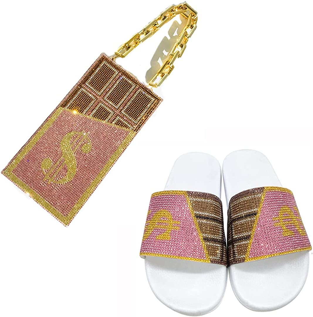 Women's Chocolate Rhinestone Glitter Crystal Slide Sandal Slippers Evening Bag for Women,Money Bags with Shoes Sets(Bag+Shoes Set Chocolate Pink, large)