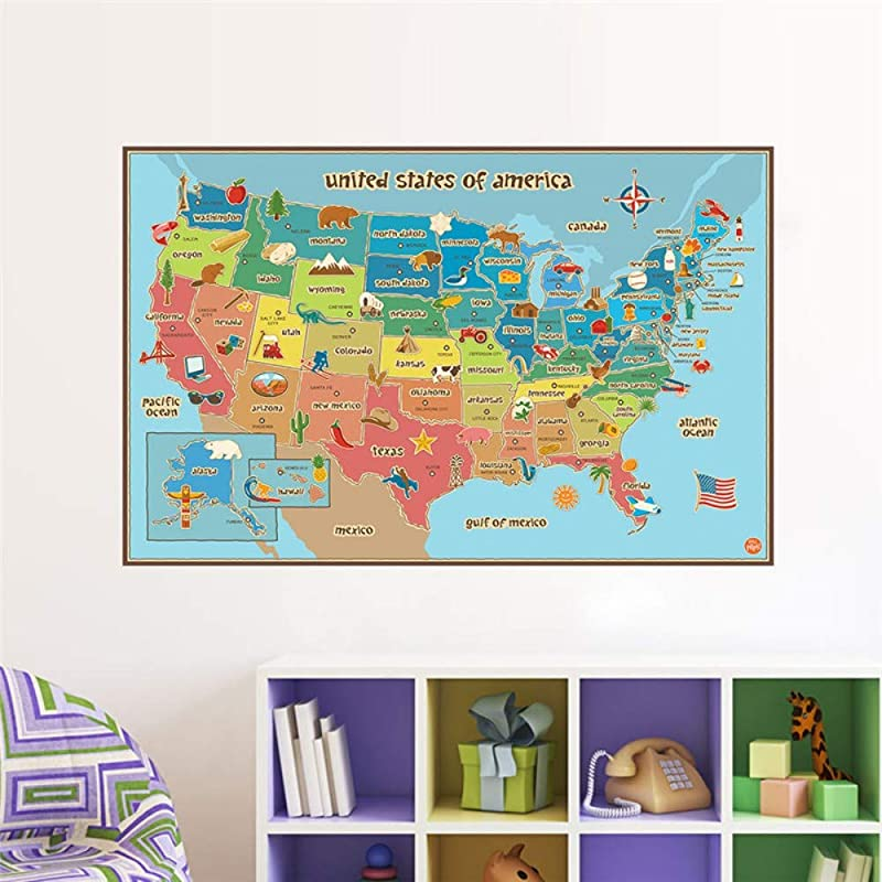 Ajhsuwn United States American Map Wall Decals Kids Rooms Nursery Foods Home Decor Cartoon Animals Wall Stickers PVC Mural Art Poster