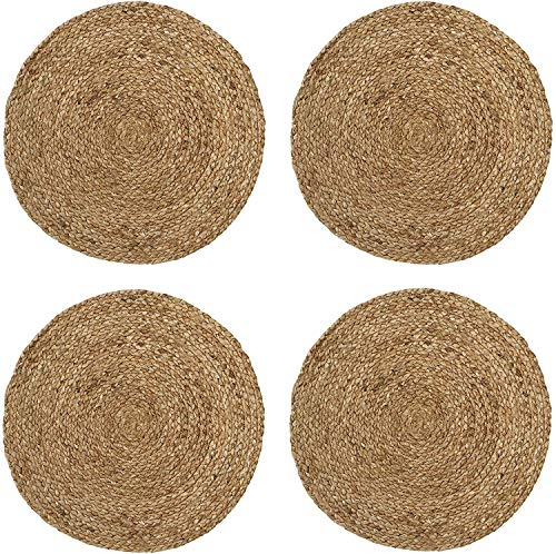 Eono by Amazon 100% Jute Hand Braided Placemats Set of 4 Rustic Vintage Farmhouse Table top & Dining Table Round Placemat for Parties (35 CM/14 INCH Diameter, Natural) Set of 4