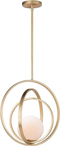 "2021 Maxim 26054SWSBR Coronet Opal White Glass Ball with Adjustable Ring Pendant Ceiling Light, 1-Light discount outlet online sale 60 Watt, 18""H x 18""W, Satin Brass sale"