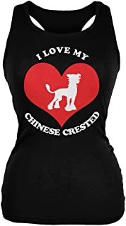 Animal World Valentines I Love My Chinese Crested Black Juniors Soft Tank Top