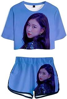 FEIRAN Manga Corta ITZY Camisetas y Pantalones Cortos para niñas con Estampado en 3D Conjunto Casual con D XL
