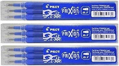Pilot Blue Frixion Rollerball Erasable Pens Pen Refills Replacement Spare Ink BLS-FR7 (Pack Of 3 - 9 Refills) Packaging May Vary