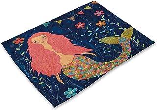 ドリンクコースター表アニマルホーム食器キッチンエイドパーティーの装飾を印刷ダイニングのためのリトルマーメイドの個々のプレースマット (色 : Mermaid 03, サイズ : About 42cmx32cm)