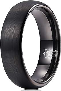 THREE KEYS JEWELRY Mens Women Black Tungsten Wedding Band 2mm 4mm 6mm 8mm Engagement Ring