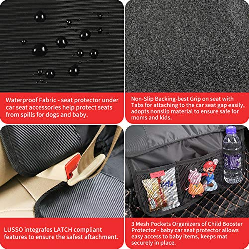 Car Seat Protector - Seat Protection Mat - Thick Padding - (Best Coverage Available), Durable, Waterproof Fabric, PVC Leather Reinforced Corners