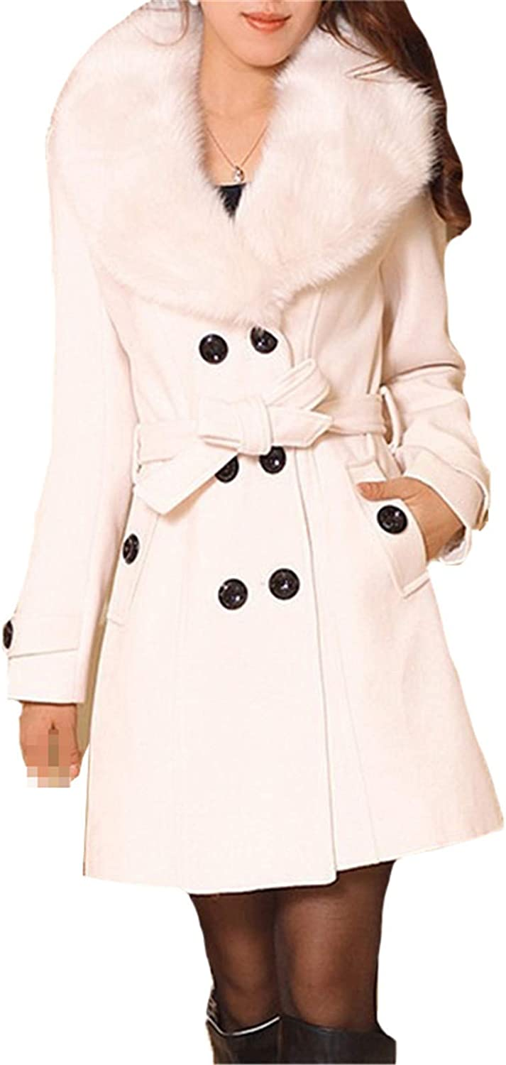 Women Coats Wool Blends Plus Size Sashes Faux Fur Collar Double Breasted Office Ladies Vintage Winter Overcoat