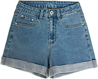 Jieming デニムショートパンツ女性のカーリングスリムホットパンツ春と夏の女性の新しいカフ付きハイウエストジーンズ (Color : Blue, Size : XXL)