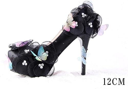 XIE Las mujeres de tacón Alto Flores de Mariposa zapatos de Novia Fotos de la Boda del talón Fino zapatos de Vestir Las mujeres zapatos de Boda zapatos de Boca Baja negro