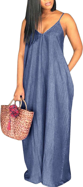 Chuanqi Womens Summer Spaghetti Strap Dresses Casual Denim Deep V Neck Loose Maxi Dress