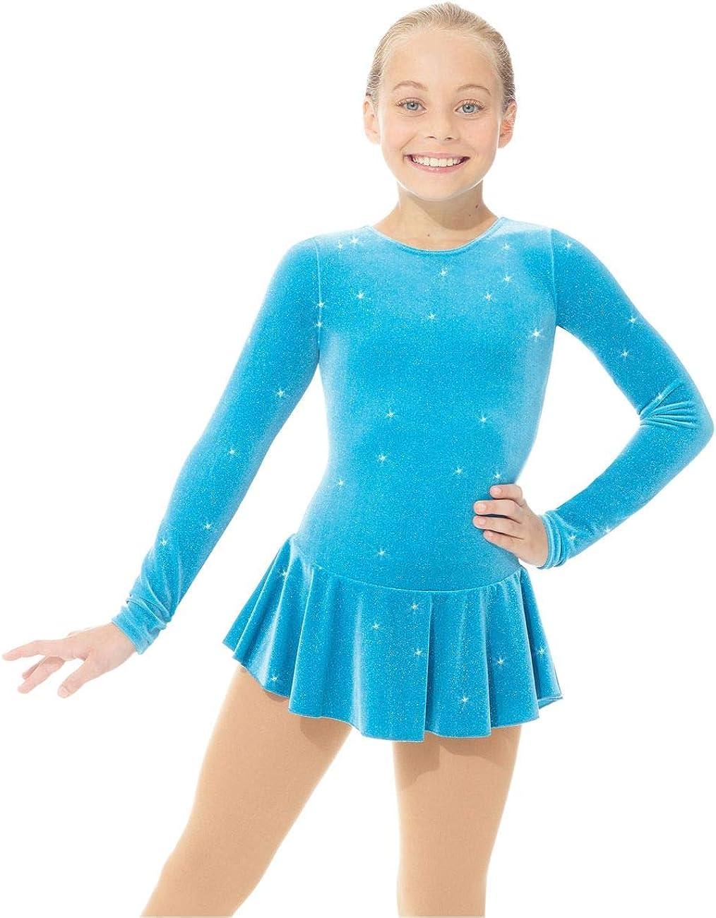 Mondor Girls Figure Skating Dress Green Glitter Size Junior 6X-7