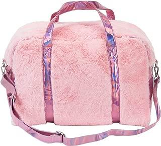 Large FabuLuxe Weekender Pink Travel Bag - Faux-Fur Lined - Adjustable Shoulder Strap - 18 L x 8 W x 9 H