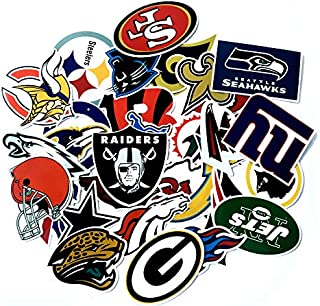 STORM GYRD Football Sticker,Vinyls Stickers[32 PCS] for Kids,Cars,Motorcycle,Bicycle,Skateboard Luggage,Bumper Waterproof (NFL Logo)