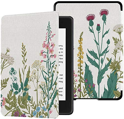 Colorful Star Slimshell Case for Kindle Paperwhite 10th Generation 2018 - Botanical Flowers PU Leather Kindle Paperwhite Covers for All-New Kindle Paperwhite E-Reader - Colorful Plants