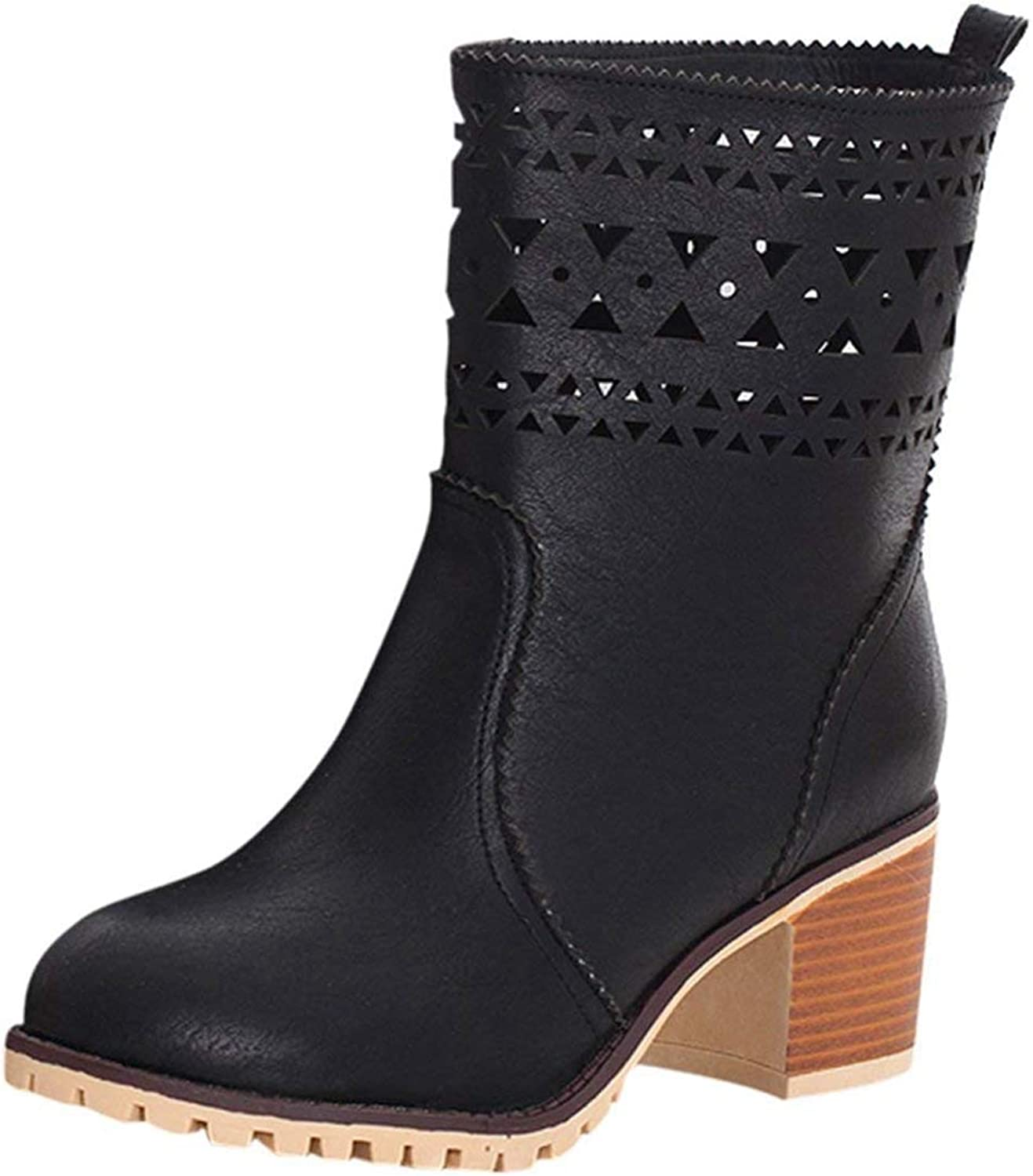 Vitalo Womens Mid Block Heel Wide Calf Ankle Boots Hollow Autumn Winter shoes
