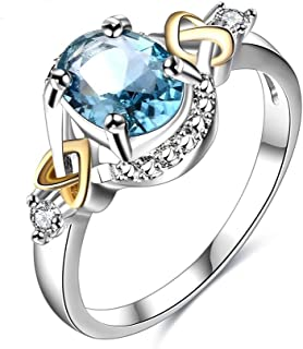 LuckyWeng Women's Jewelry Platinum Circular Bead Cross Heart Blue Gemstone Wedding Ring